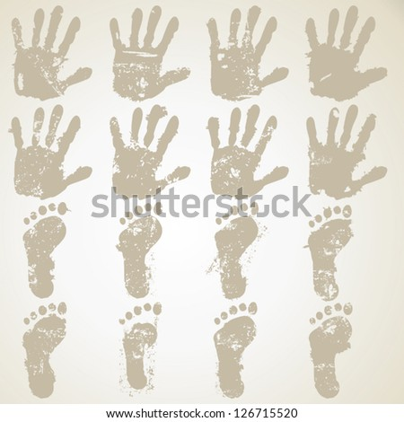 collection hands and feet prints - stock vector