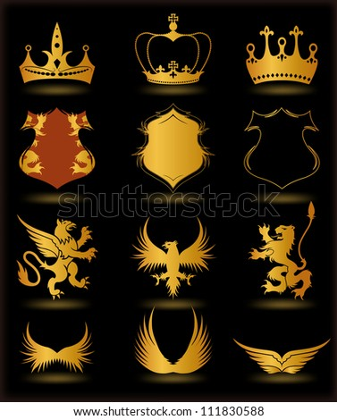 Collection heraldic gold elements on black background. Vector