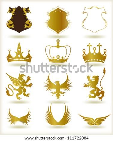 Collection heraldic gold elements. Vector - stock vector