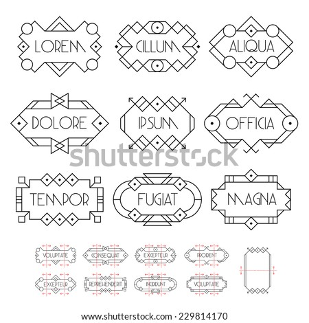 collection hipster minimal black and white geometric  frame , border , label for your logo or poster - stock vector