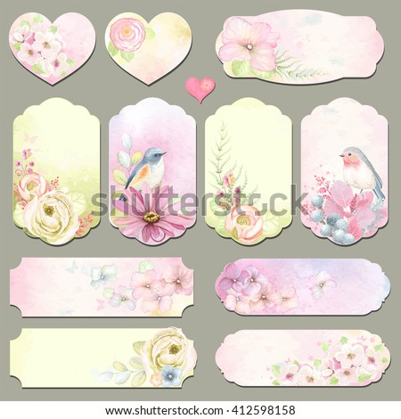 Collection holidays labels with design elements, Robin and Blue-tail birds, flowers and leaves, vector illustration in vintage style on watercolor background. - stock vector
