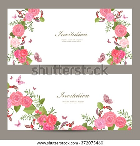 collection horizontal banners with blossom of roses for your design
