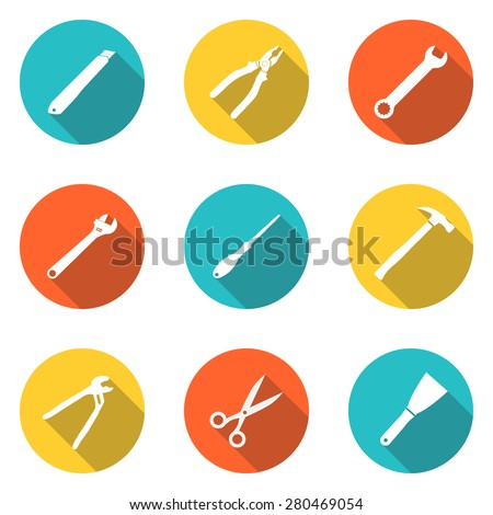 Collection icons  hand tool. Set tools  pliers, hammer, screwdriver, spanner, trowel, wrench, cutter, scissor, pincers, screw driver, knife, nipper. Vector illustration - stock vector