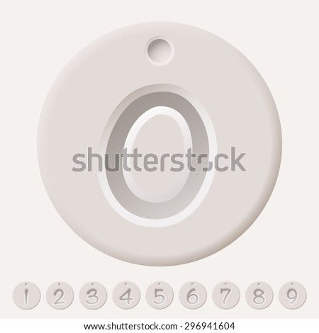 Collection illustrated number tags from 0 to 9 with shadow effect - stock vector