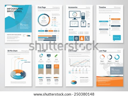 Collection Infographic elements for business brochures. Use in website, corporate brochure, advertising and marketing. Pie charts, line graphs, bar graphs and timelines. - stock vector