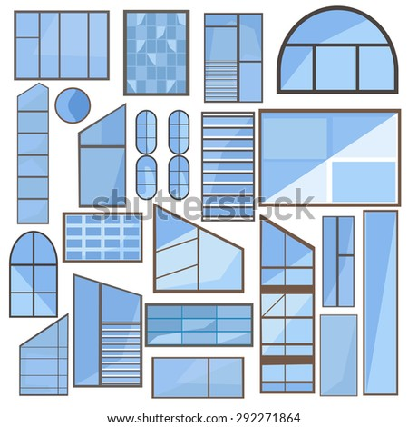Collection isolated of modern flat icons windows glass, frame for web design, interface elements, business. Vector illustration - stock vector