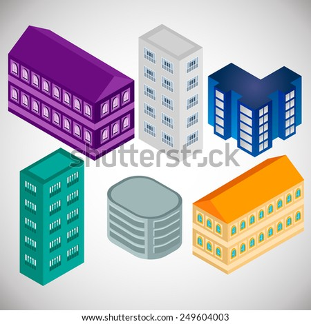 Collection Isometric Houses in various colors for decoration of town. Conceptual and modern design. Grey, violet, orange, blue colors.