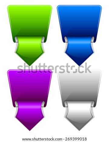Collection label with arrow drawn in different color - stock vector