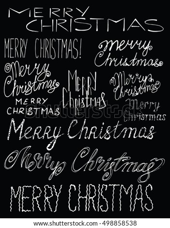 Collection labels Merry Christmas. Cover title. Drawing by hand. Lettering. The words. Letters. Capital letters. Set.