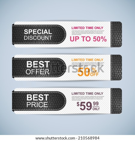 Collection leather sale banners - stock vector
