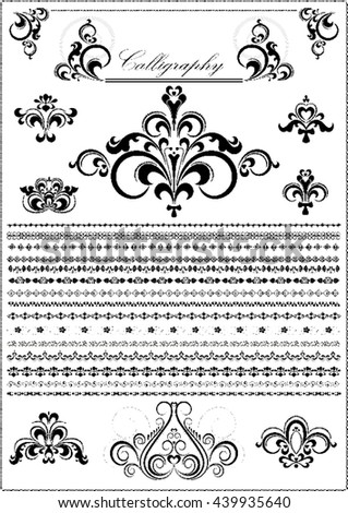 Collection luxury calligraphy borders and ornaments on white background - stock vector