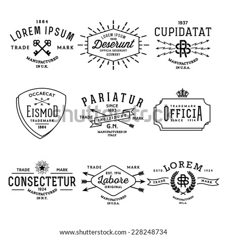 collection monochrome hipster vintage label, logo, badge for your business or t-shirt print with arrow, lightning, crown, ribbon, starburst, wreath - stock vector