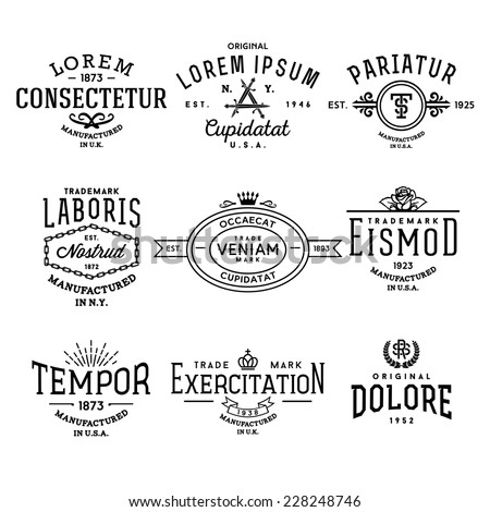 Collection Monochrome Hipster Vintage Label Logo Stock