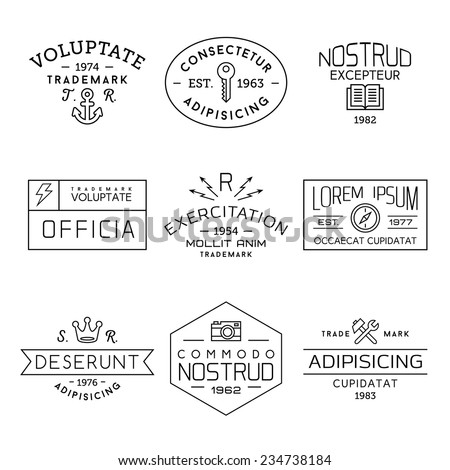 collection monochrome hipster vintage label, logotype , badge for your business or t-shirt print with anchor, lightning, crown, key, compass, hammer, spanner, camera - stock vector