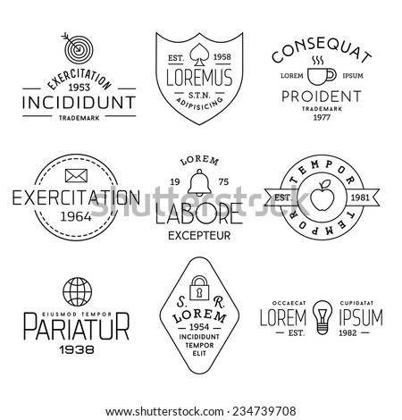 collection monochrome hipster vintage label, logotype, badge for your business or t-shirt print with target, shield, cup, letter, bell, apple, globe, lock, bulb - stock vector