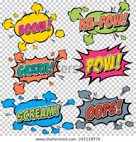 collection multicolored comic sound effects stock vector royalty