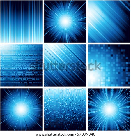 Collection of abstract backgrounds in blue color. Vector. - stock vector