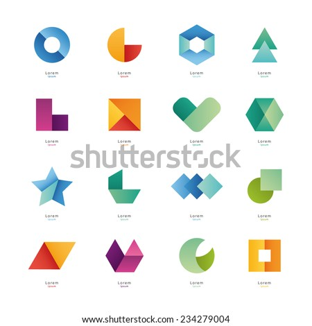 Collection of abstract blank symbols. Simple geometric shapes. - stock vector