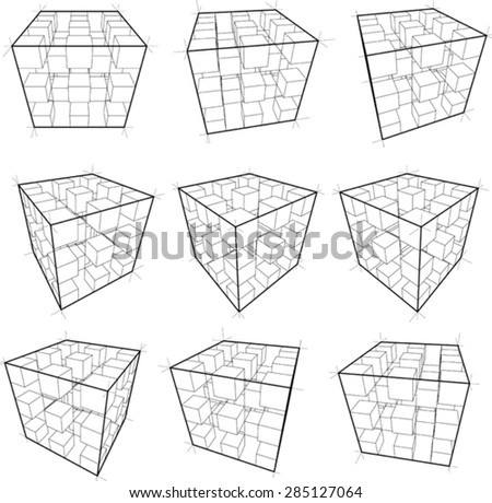 collection of abstract geometric design elements composed of cubes - stock vector