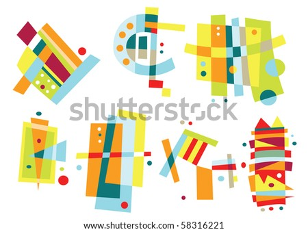 Collection of abstract, geometric elements in bright colors. - stock vector