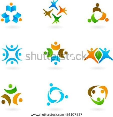 Collection of abstract human icons - stock vector
