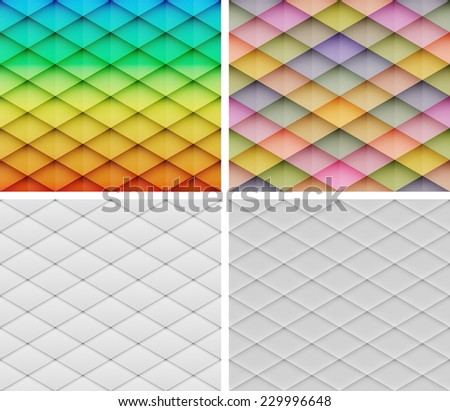 Collection of abstract mosaic vector backgrounds. Graphic pattern with rhombus elements. White paper abstract backgrounds. Vector illustration - stock vector