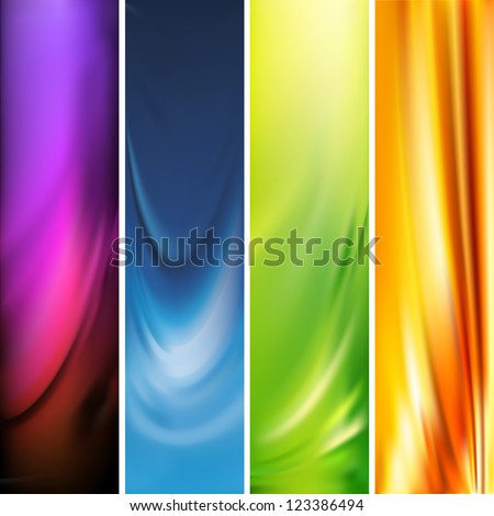 Collection of abstract multicolored backgrounds, mesh vector illustration - stock vector