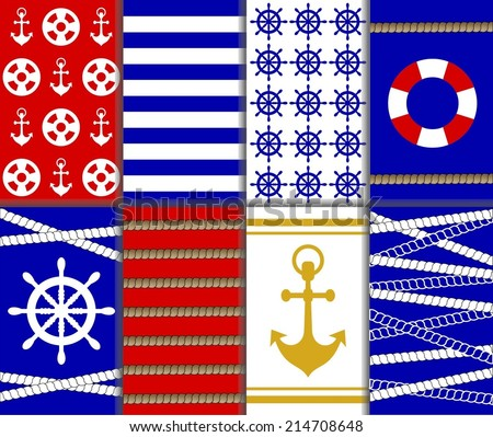 Collection of abstract nautical pattern, Set of blue, red, white and yellow color chevron, ship wheel, water anchor and rope background. Navy shape element theme. vector art image illustration eps10 - stock vector
