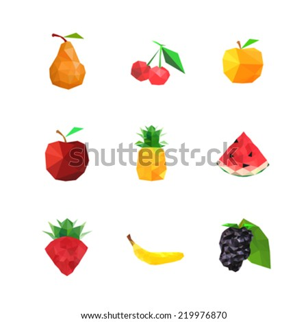 Collection of abstract origami fruits, isolated on white background