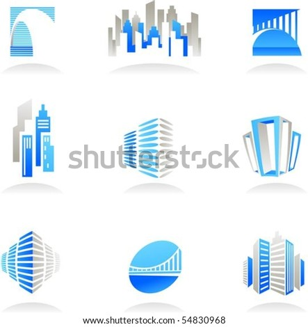 Collection of abstract real estate and construction icons - stock vector