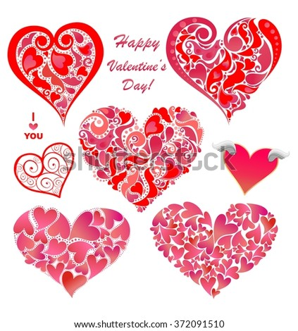 Collection of abstract red heart shapes - stock vector