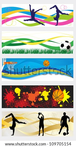 Collection of abstract sport headers or banner set - stock vector