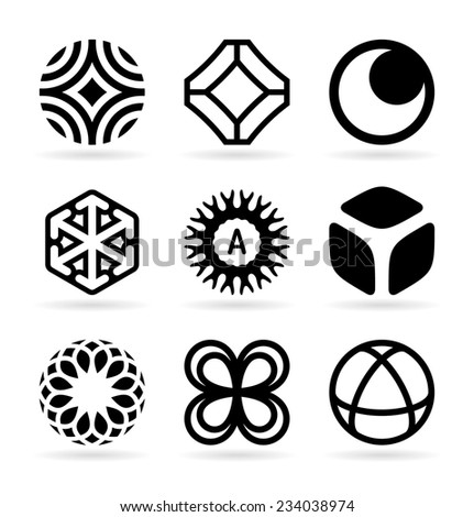 Collection of abstract symbols (23) - stock vector