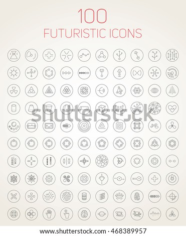 Collection of 100 abstract vector futuristic icons. Use it as indicator elements in your design.