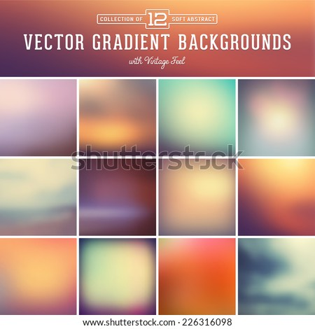 collection of 12 abstract vector gradient backgrounds with vintage feel - stock vector
