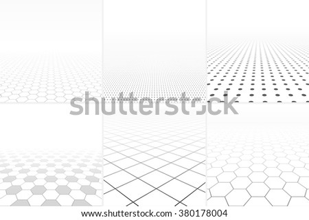 Collection of abstract white backgrounds with perspective. - stock vector