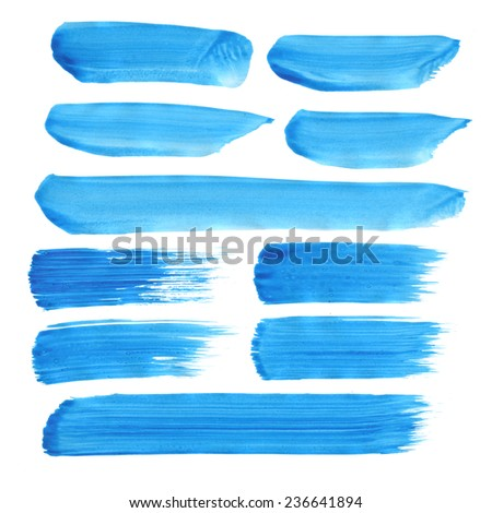 Collection of acrylic brushes/banners /Set of paint blobs, isolated on white background. Blank  colored shapes, web buttons / Vector illustration - stock vector