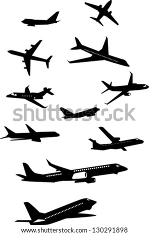 Collection of airplane silhouettes - stock vector