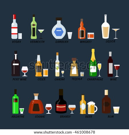 Collection of alcohol bottles in a flat style. Icons vector illustration.