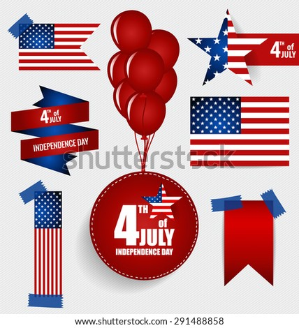 Collection of American Flags for Independence Day. Vector illustration. - stock vector