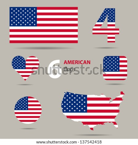 Collection of American flags in different shapes in vector - stock vector