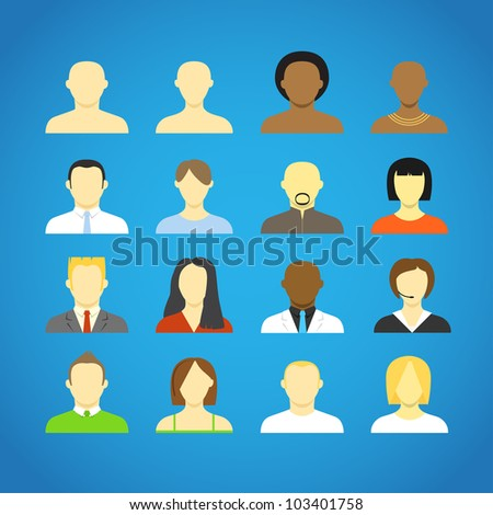 Collection of an account icons of men and women. Different nationalities - stock vector