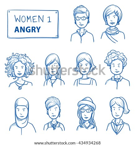 Collection of angry women. Set of various dissatisfied, enraged women in business and casual clothes, mixed age expressing unhappy, negative emotions. Hand drawn line art cartoon vector illustration. - stock vector