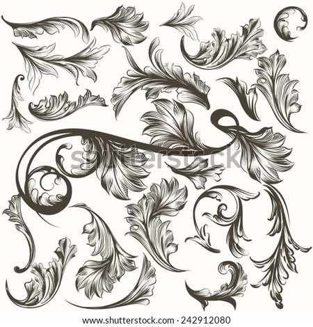 Collection of antique hand drawn ornaments for design - stock vector