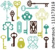 Collection of Antique Keys - for your design or scrapbook - in vector - stock photo