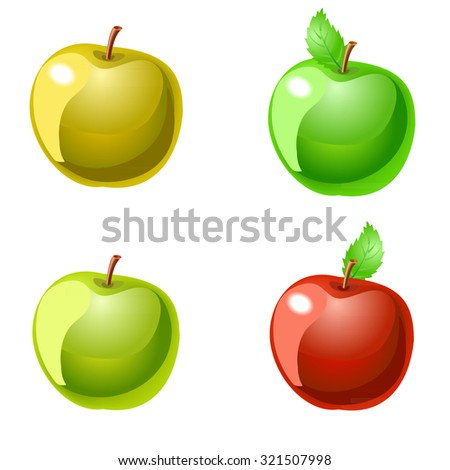 Collection of apples isolated on white. Vector. - stock vector