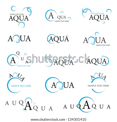 Collection Of Aqua Design Elements - Isolated On White Background - Vector Illustration, Graphic Design Editable For Your Design. Aqua Logo - stock vector