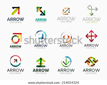 Collection of 12 arrow company logotypes, business symbols, icons, concepts - stock vector