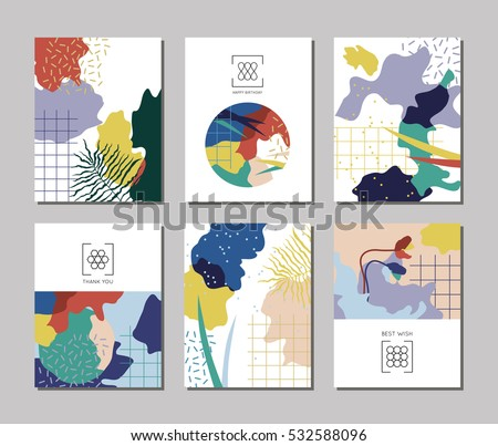 Collection 6 artistic creative universal cards stock vector royalty collection of 6 artistic creative universal cards with nature motifs japanese poster style stopboris Gallery