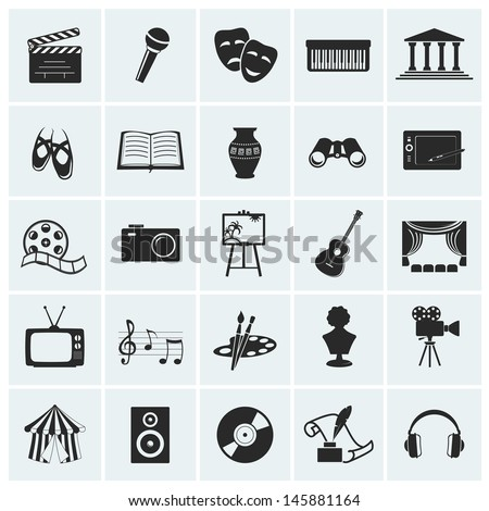 Collection of 25 arts and creative icons. Vector illustration. - stock vector